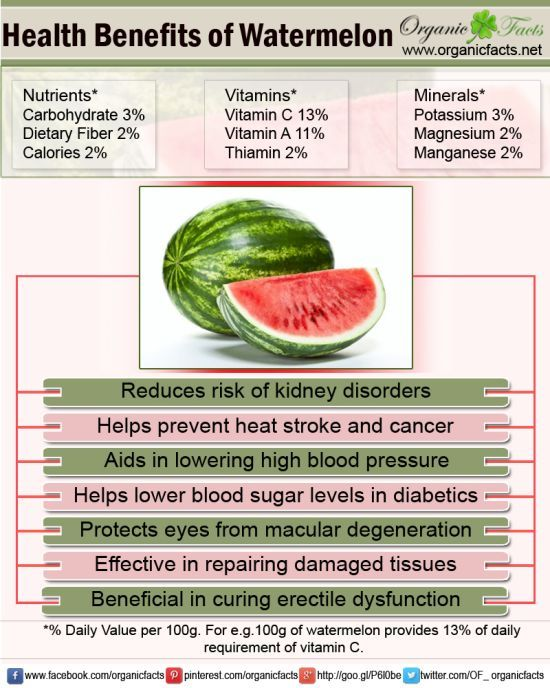 Health benefits of watermelon include their ability to prevent kidney disorders, high blood pressure, prevention of cancer, diabetes, heart disease, heat stroke, macular degeneration and impotence.