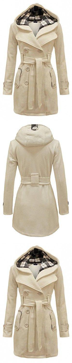QZUnique Women's Double Breasted Outerwear Thin Hoodie Pea Coat Jacket Beige US 12-14