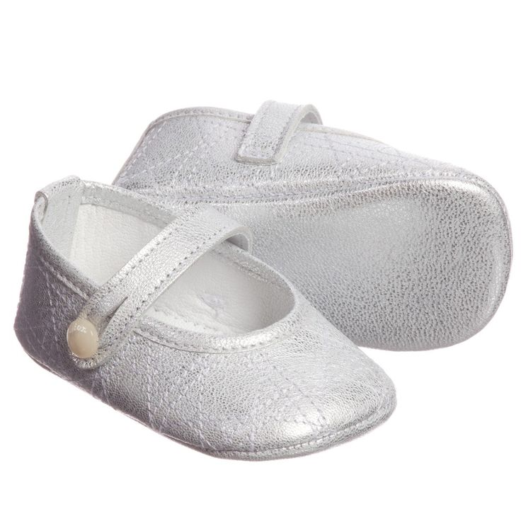Silver Leather 'Cannage' Pre-Walker Shoes, Dior, Girl