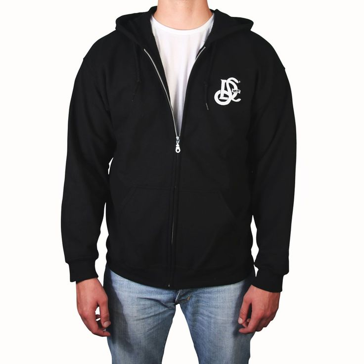 LD West® Full Zip Hoodie - Black w/ White Embroidry - LD West