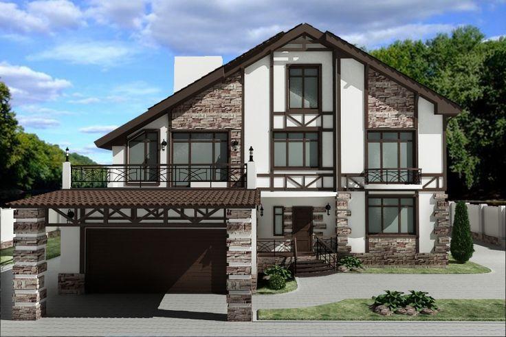 Дизайн фасадов загородных домов фото
