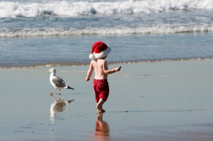 The best gift for a child is Christmas vacation at the beach.