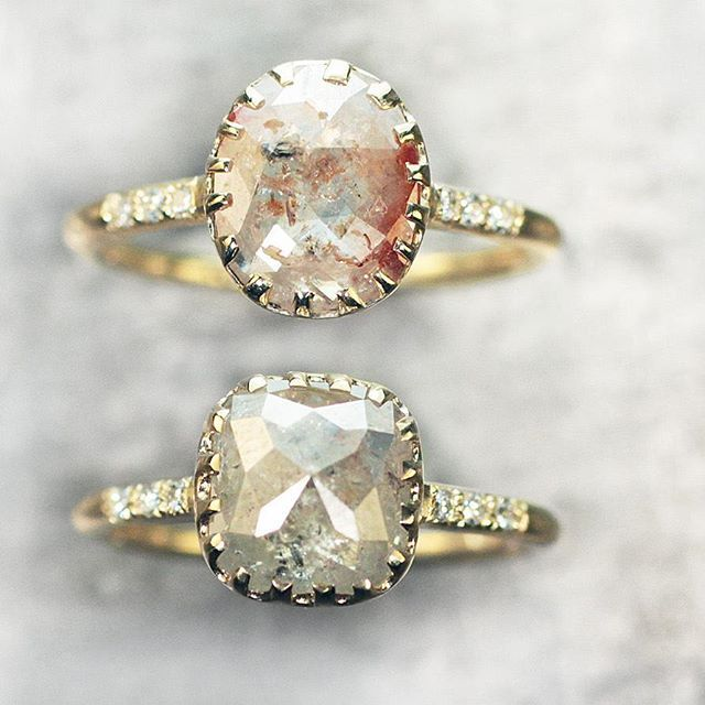 Our 1.06 carat champagne/peach diamond ring and 1.85 carat gray diamond ring. chincharmaloney.com