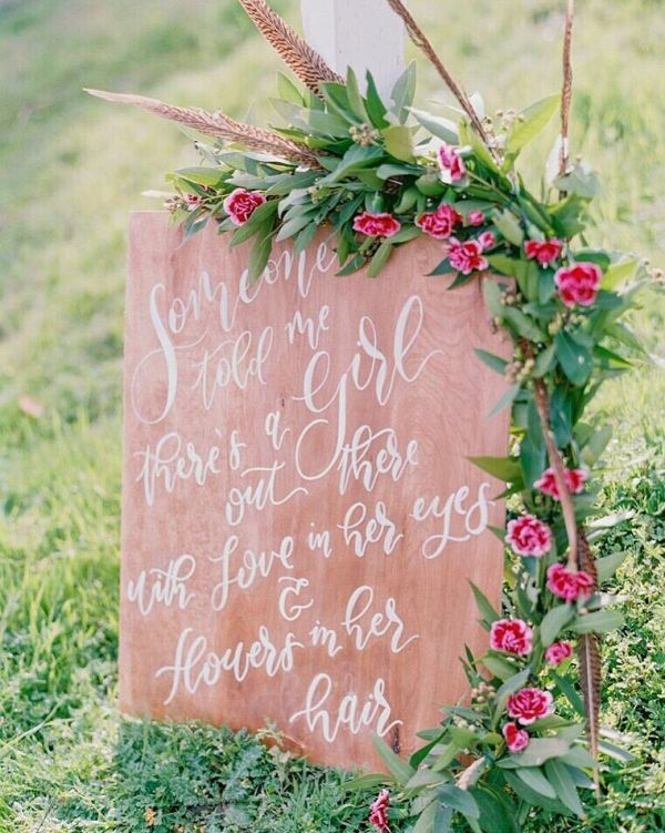 Welcome family and friends to an outdoor wedding with an elegantly rustic wooden sign hand-lettered by Berkeley-based calligrapher Kai Nomellini. Choose the size, stain, and wording.