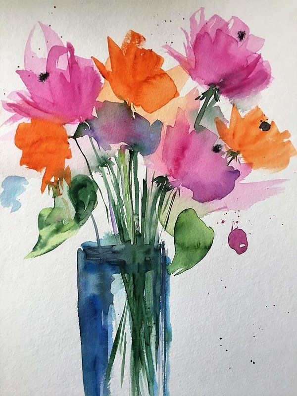 colorful Flowers Art Print by Britta Zehm
