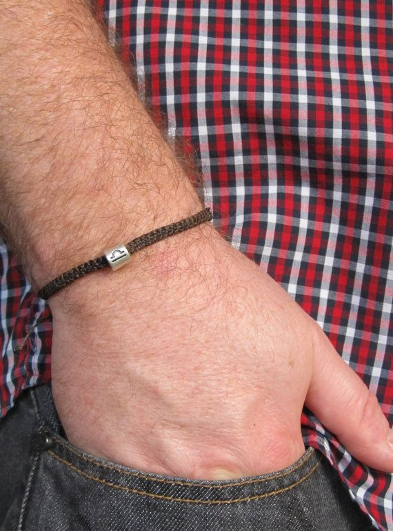 Men's Bracelet Brown Adjustable Wax Cord with Silver by MenFolk, $10.00