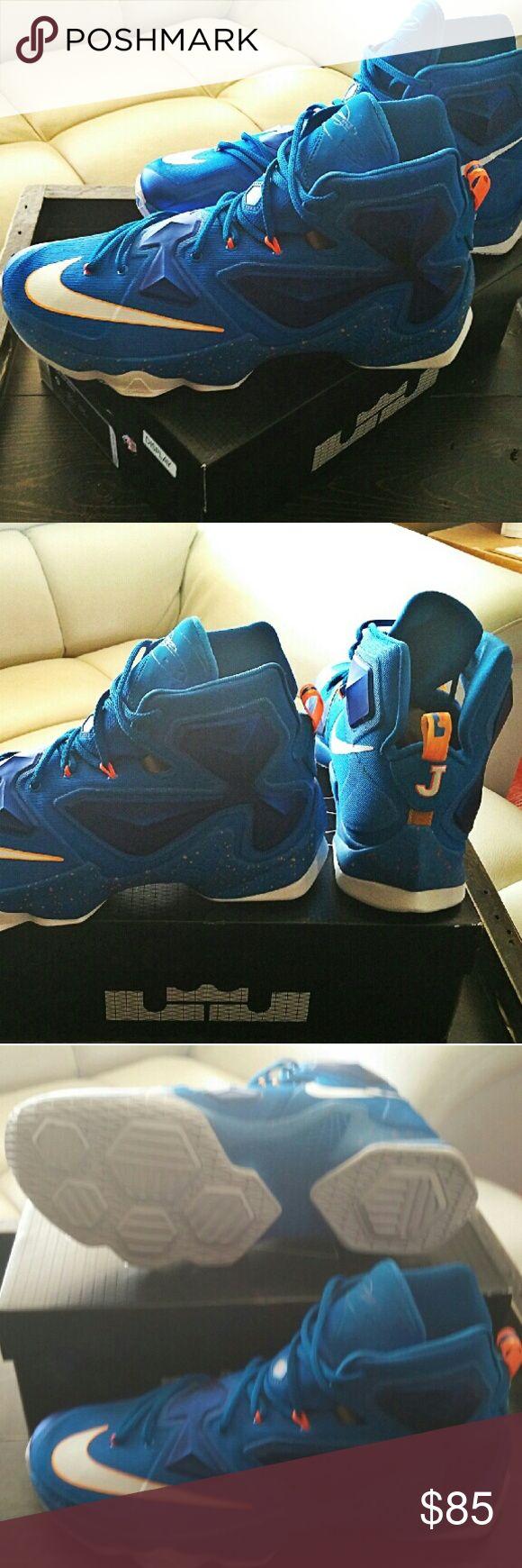NIKE Lebron XIII Lebron James XIII High Top Blue Orange/White - Brand New Never Worn. Nike Shoes Sneakers
