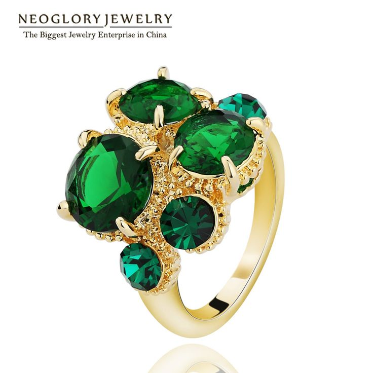 Gold Plated Zircon Green Blue Party Finger Rings Statement Fashion India Jewelry Brand Gothic  New Gifts