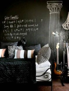 http://www.bawtie.com/comfortable-cool-room-decor/ Comfortable Cool Room Decor : Cool Black Color Teenagers Musician Room Decoration With White Bed And Wall Message As Wall Decor With Black And White Pillow Ideas