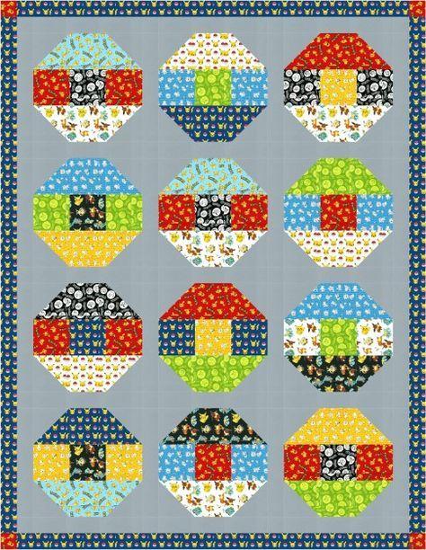 "Poké Ball Free Pattern: Robert Kaufman Fabric Company...Designed by Robert Kaufman Fabrics, the final quilt measures 78"" x 101""...You will need: 11 fabrics / 9.38 yard(s)"