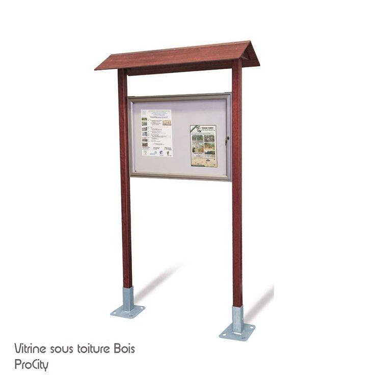 Vitrine d'informations extérieure, Bois, H 2.5 m, vitrine 66x90.5 cm, Design ProCity