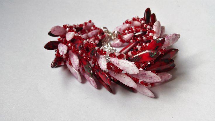 Bransoletka groty czerwono różowa - Vezzo - Bransoletki z koralików