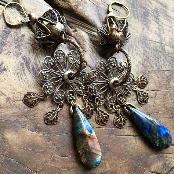 Labradorite teardrop earrings Bohemian chandelier by lecoupdegrace