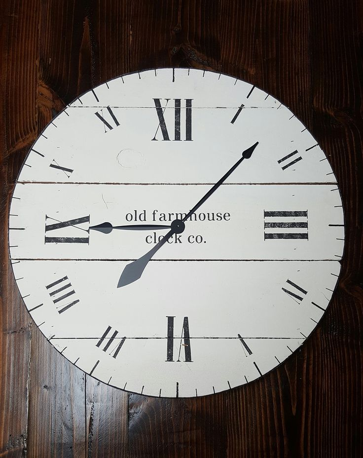 """36in """"Aaron"""" farmhouse wall clock, fixer upper clock with white chalk paint finish and black roman numerals, shiplap clock, shabby chic clock, rustic wall clock. 36in """"Aaron"""" farmhouse wall clock, fixer upper clock with white distressed finish and black Arabic numerals. This clock is new in our line of """"old Farmhouse"""" wall clocks and features horizontal wood positioning, antique style spade hands, and requires one AA battery (not included)."""