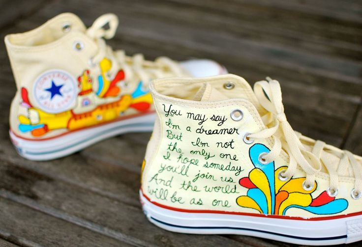 Hand Painted Yellow Submarine Beatles Hi Top White Converse Chuck Taylor All Star Sneakers ($199)