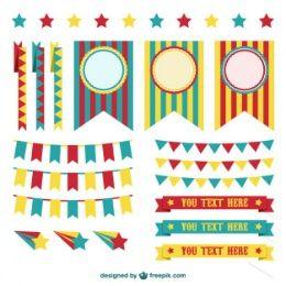 Circus decorations graphic elements