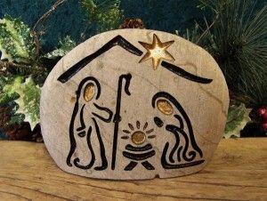 Nacimiento hecho sobre piedra