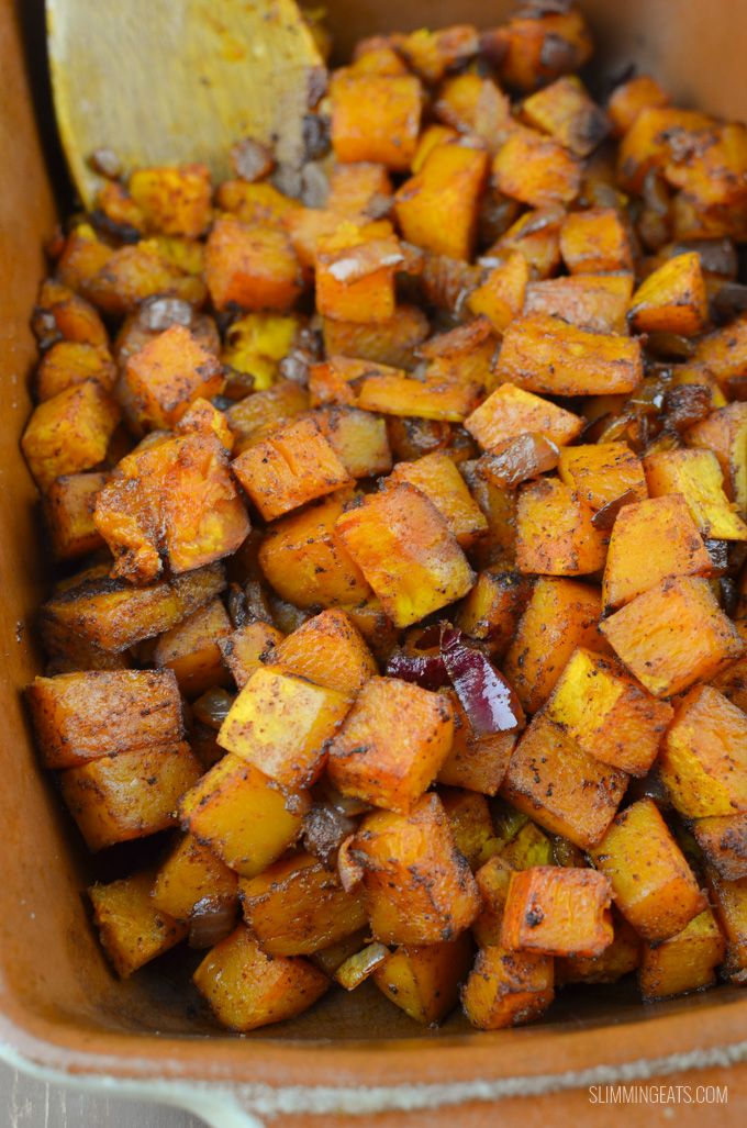 Slimming Eats Roasted Butternut Squash with Paprika - gluten free, dairy free, vegetarian, paleo, Whole30, Slimming World and Weight Watchers friendly