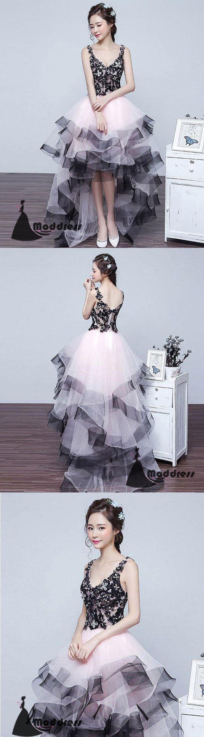 V-Neck Prom Dress High-Low Lace Evening Dress Applique Formal Dress,HS483 #fashion #shopping #promdresses #eveningdresses #prom #dresses