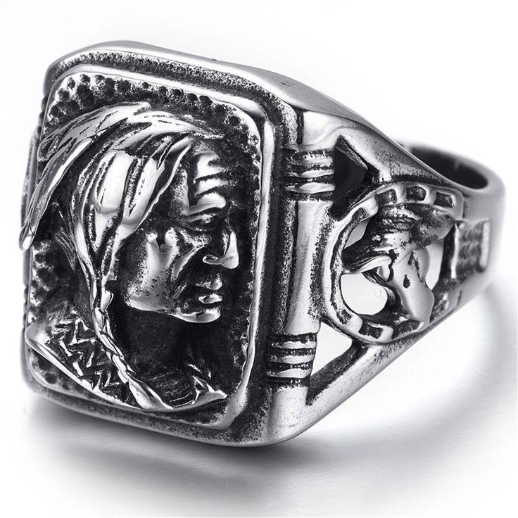 Mens Stainless Steel Ring, Biker, Silver, Black, Indian, KR2222