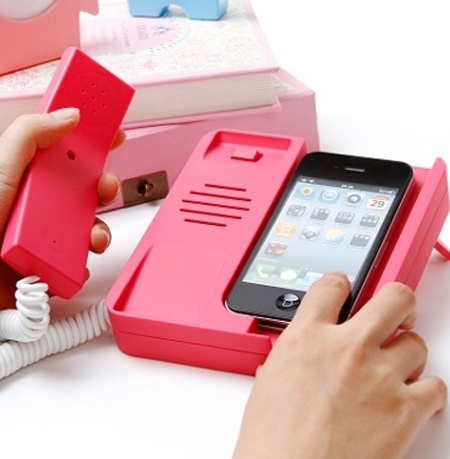 I want!! (so far this one only works for iPhone but maybe someone will make one compatible for all phones) I used to love talking on the phone (pre-cell phone era) now I hate it, it just isn't comfortable to hold the box to my head.