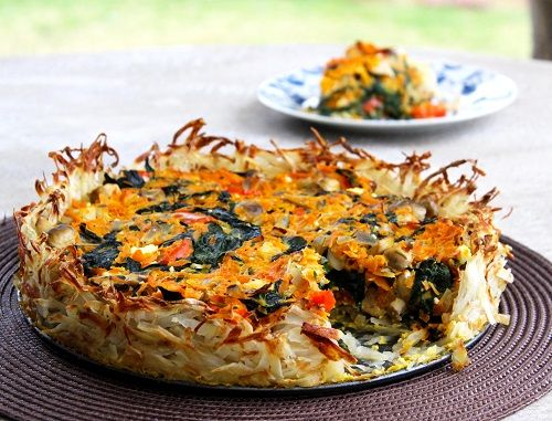 Potato crusted veg tart