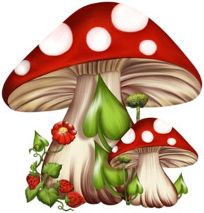 Cute red/white polka-dot mushrooms