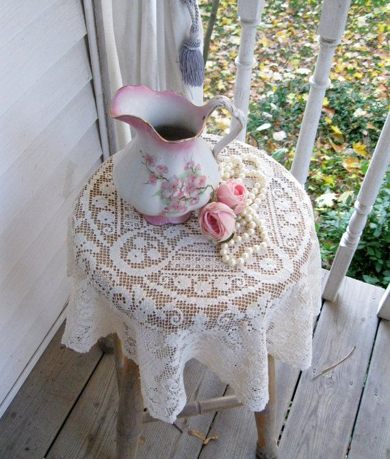 Small Round Filet Lace Tablecloth Cream By Mailordervintage