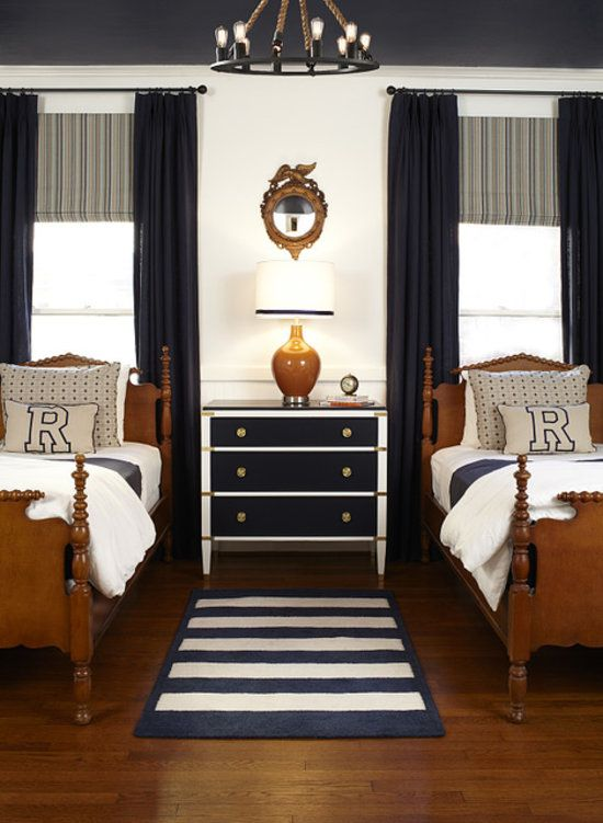 Traditional Navy and White Big Boy's Room