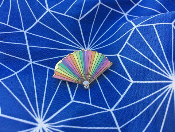Rainbow Fan Enamel Pin