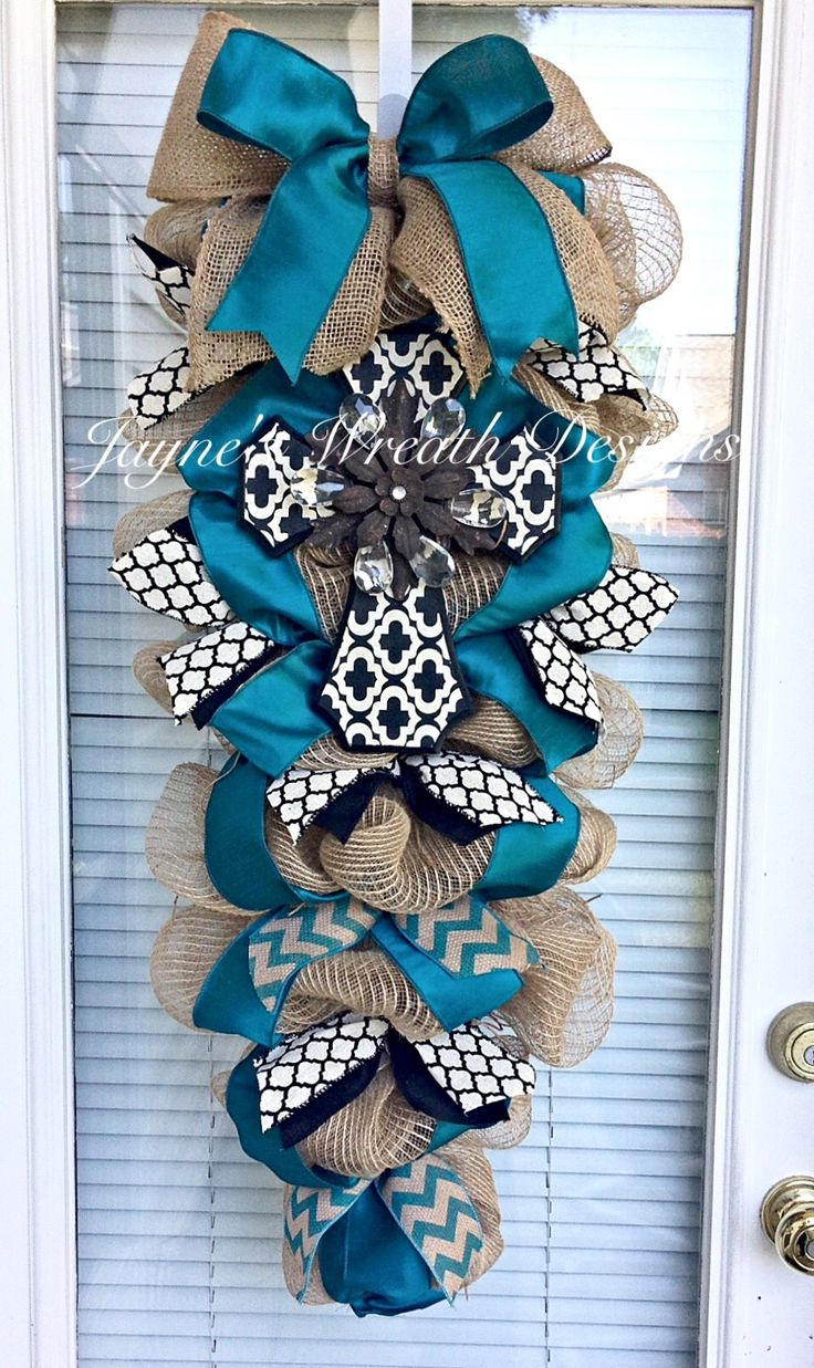 CrossBurlap Door Swag with Teal & Black Dupioni Ribbons, Quatrefoil, Chevron, and Burlap Ribbons   Jayne's Wreath Designs on FB and Instagram