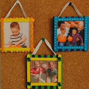 Popsicle stick photo frames-- made these today using craft paper as the backing. It went really quickly, though, so I'm going to try it again tomorrow and give the kids more material for decoration.