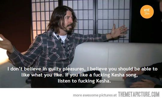 Thanks, Dave Grohl.  I honestly feel the same way.  If i like or dislike something, I'm not ashamed to admit it.  I am who I am, I have my own set of tastes, and I'm damn proud of it :)