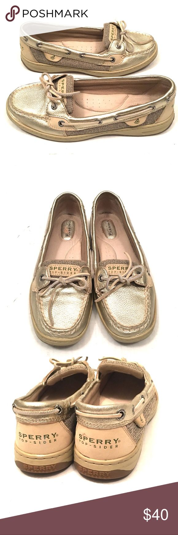 Sperry Top Sider Angelfish Gold Boat Shoes Sperry Top Sider Angelfish  Gold and Tan  Metallic Boat Shoes Great pre Owned Shape  Size 7.5 Medium Buy with Confidence Sperry Top-Sider Shoes Flats & Loafers