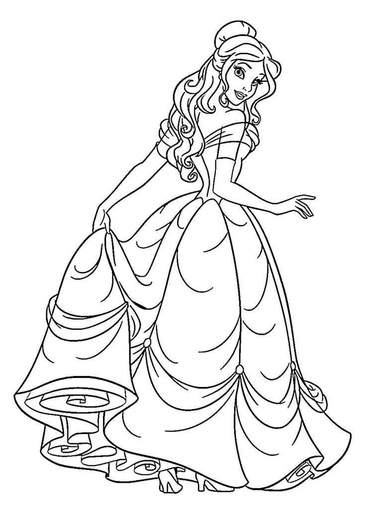 Beauty princess coloring pages for kids, printable free                                                                                                                                                                                 More