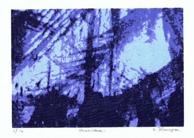 """This screenprint """"Hurricane"""" was created in May 2012. The print consists of 5 layers and is in an edition of 12 prints."""
