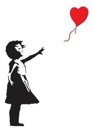 BANKSY GIRL WITH HEART BALLOON VINYL WALL ART DECAL STICKER 88CM (H) X 50CM (W): Amazon.co.uk: DIY & Tools