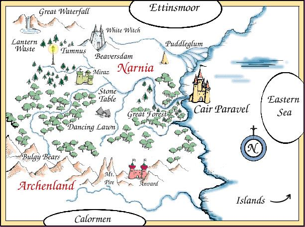 Map of Narnia and surrounding lands : witch the lion and ...