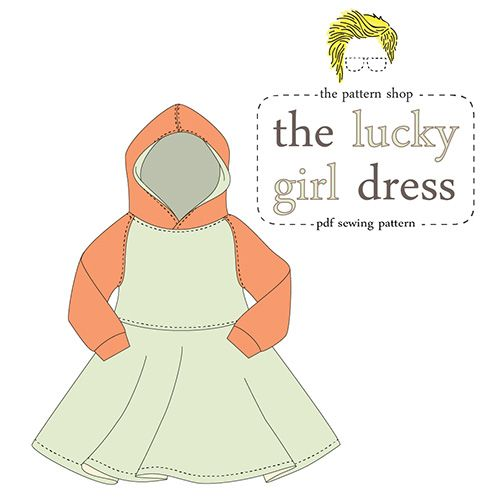 Lucy Blaire Lucky Girl Dress Sewing Pattern - The Lucky Girl Dress is designed to be sewn with knit fabric which can be a little tricky but once you have that down the clear instructions and color illustrations of this PDF sewing pattern will make putting it together a breeze! Your little one will love the twirly circle skirt, the cozy hood, and the sweatshirt like feel of this easy fitting play dress.  ::  $10.00
