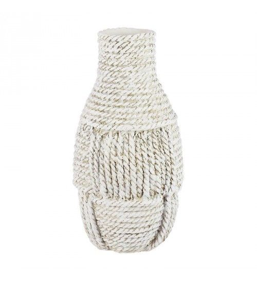 POLYRESIN VASE IN WHITE_BEIGE 17X17X33