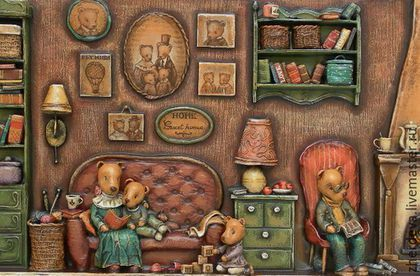 Volume picture. Everyday scenes from the life of furry babies. Wood, paper and thread, nothing more. Multi-layer painting with tempera paints. Author- Zherdevа Maria.