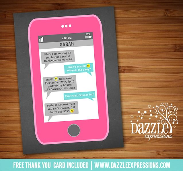 Printable Cell Phone Text Message Birthday Invitation Iphone - Birthday invitation sms from parents