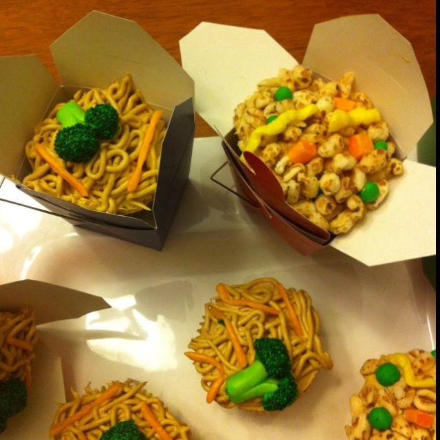 """My """"Chinese take out"""" cupcakes. Everything on them is candy and ..."""