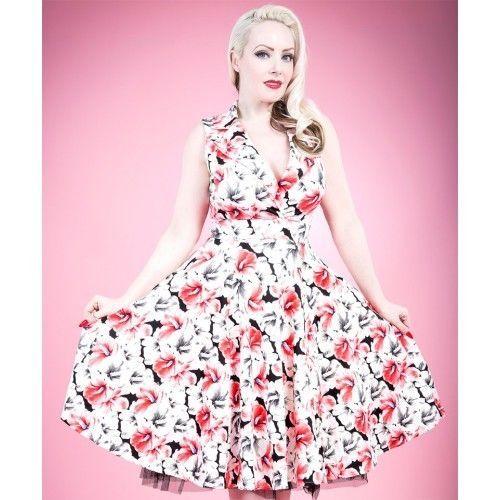 H & R London White Red Hibiscus Tiki Rockabilly Pinup Long Dress