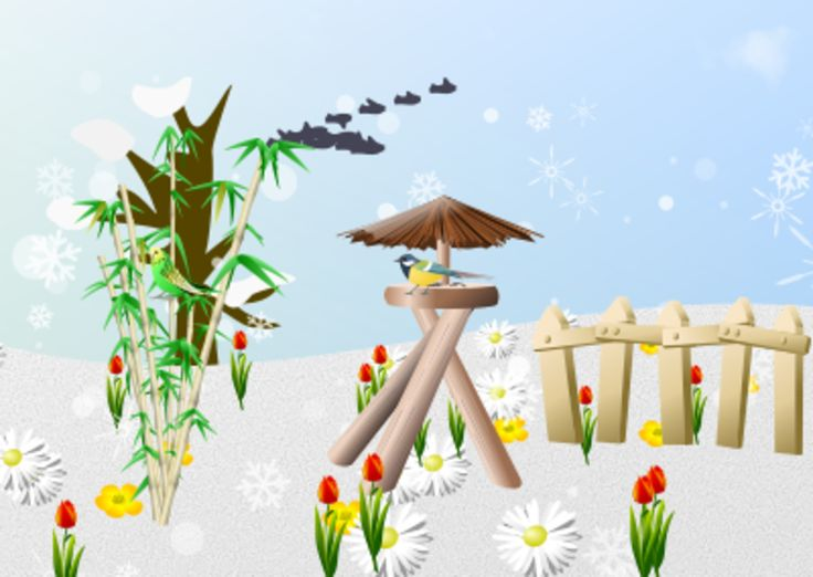 """Aus dem Text: """"Es schneit. Auf Bambus sitzt Wellensittich. Auf Vogelhaus sitzt Meise. Zaun. Wiese und Vögel. Viele Tulpen."""""""