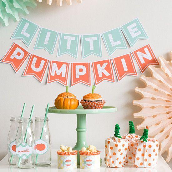 Kit gratuito de imprimibles para hacer una fiesta inspirada en calabazas // A little pumpkin party free printables