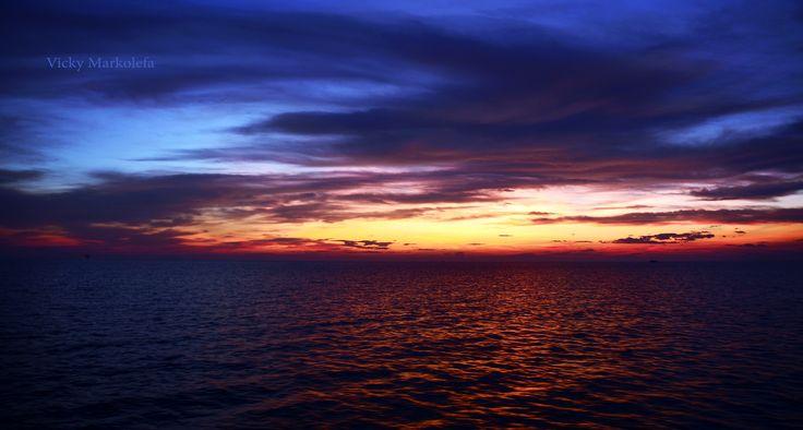Sun setting in Kavala