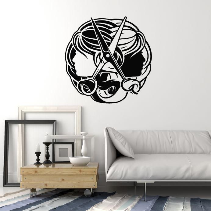 Vinyl Wall Decal Hair Salon Sign Stylist Hairdresser Scissors Woman Stickers Mural (ig5290)