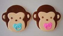 Monkey cookies...plus several other baby shower themed cookie ideas