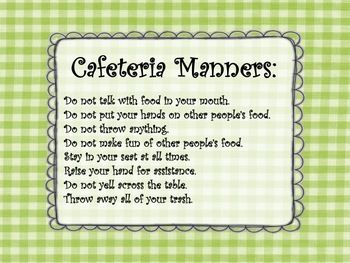 Cafeteria Manners (Lunch room rules) Wall sign